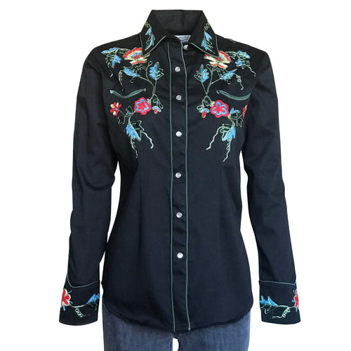 Women's Floral Embroidery Cotton Gabardine Black Western Shirt