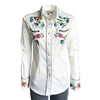 Women's Floral Embroidery Cotton Gabardine Ivory Western Shirt