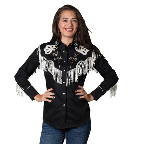 Women's Vintage Fringe Black Embroidered Western Shirt