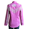 Women's Vintage Fringe Pink Embroidered Western Shirt