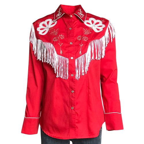 Women's Vintage Fringe Red Embroidered Western Shirt