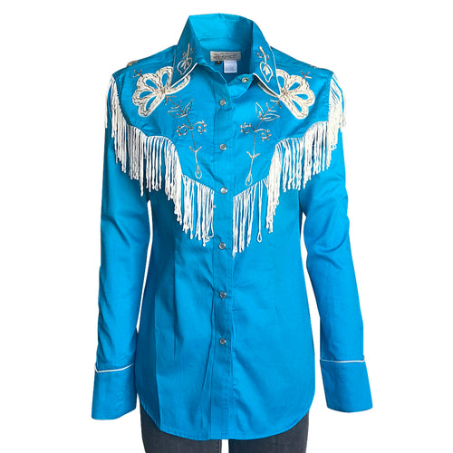 Women's Vintage Fringe Turquoise Embroidered Western Shirt