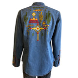 Women's Native Pattern Embroidery Western Shirt in Denim