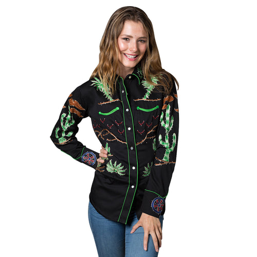 Women's Porter Wagoner Black Embroidered Western Shirt