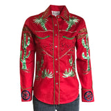 Women's Porter Wagoner Red Embroidered Western Shirt