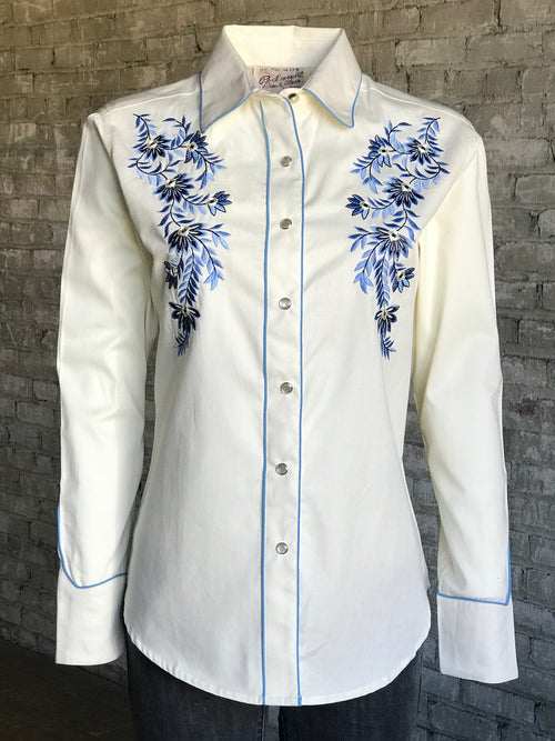 Women's Cascading Floral Embroidery Western Shirt