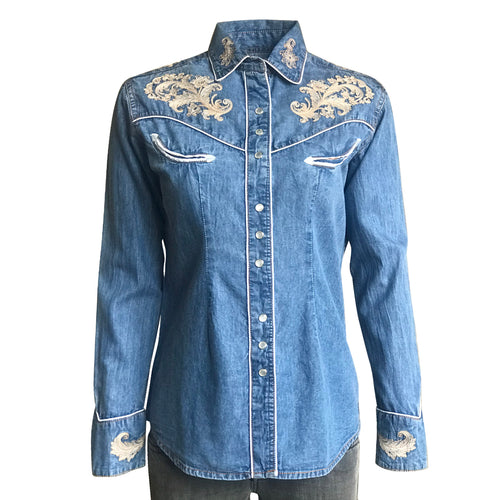Women's Vintage Denim Western Shirt with Floral Embroidery