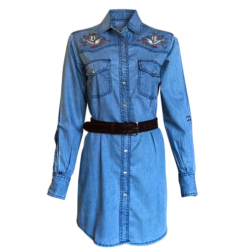 Women's Flying Swallows Embroidered Denim Western Shirt Dress