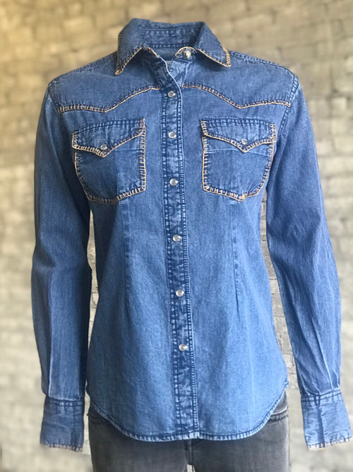 Women's Stonewashed Denim Western Shirt - Rockmount