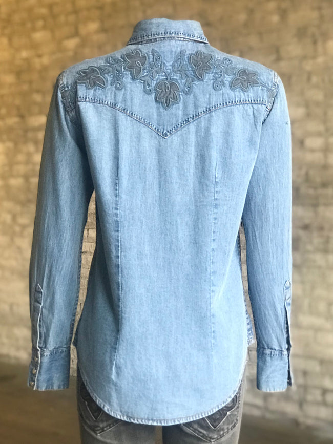 Women's Floral Pinpoint Embroidered Denim Western Shirt - Rockmount