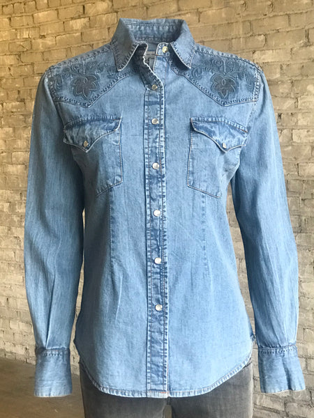 Men's Hops Vintage Embroidered Denim Shirt