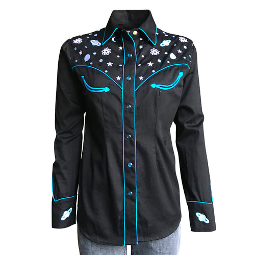 Women's Out of This World Embroidered Black Western Shirt