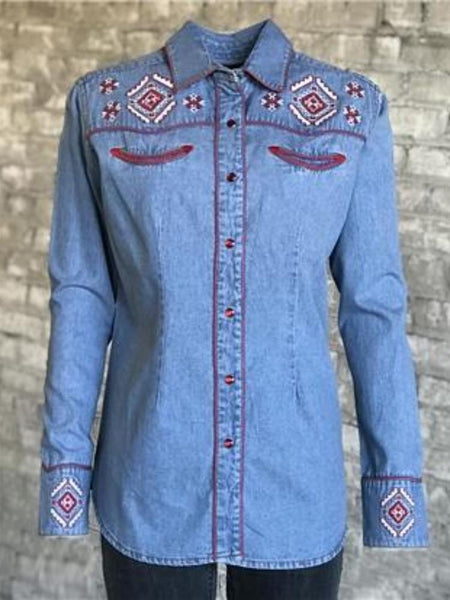 Women's Red Floral Embroidery Denim Shirt