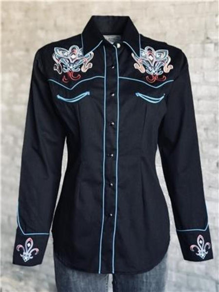 Women's Embroidered Fleur-De-Lis Western Shirt