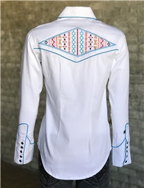 Women's Native American Embroidery White Western Shirt - Rockmount