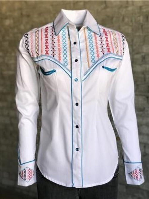 Women's Native American Embroidery White Western Shirt