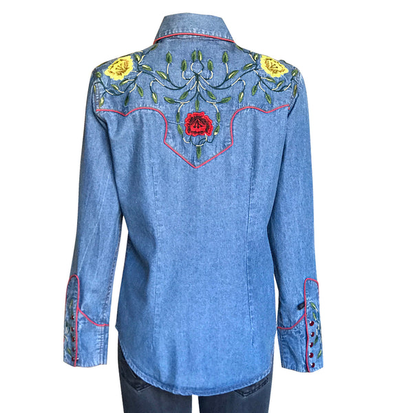 Women's Vintage Floral Embroidery Denim Western Shirt