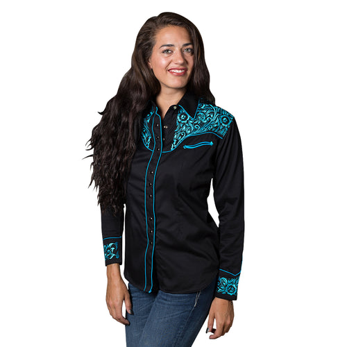 Women's Vintage Tooling Embroidery Black & Turquoise Western Shirt