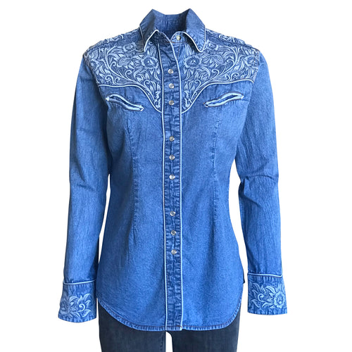 Women's Vintage Tooling Embroidery Denim & Blue Western Shirt