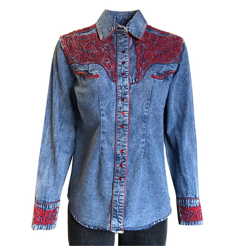 Women's Vintage Tooling Embroidery Denim & Red Western Shirt