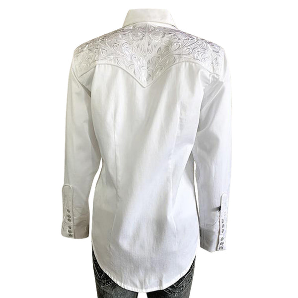 Women's Vintage Tooling Embroidery White-on-White Western Shirt
