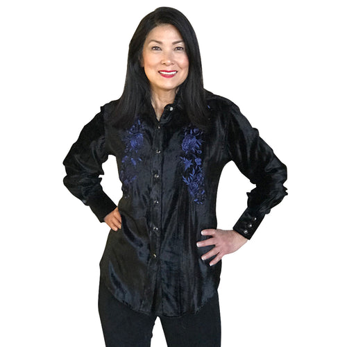 Women's Velvet Floral Embroidery Western Shirt in Black