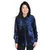 Women's Velvet Floral Embroidery Western Shirt in Navy