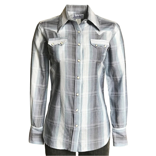 Women's Classic Slate Blue Ombre Stripe Sawtooth Western Shirt