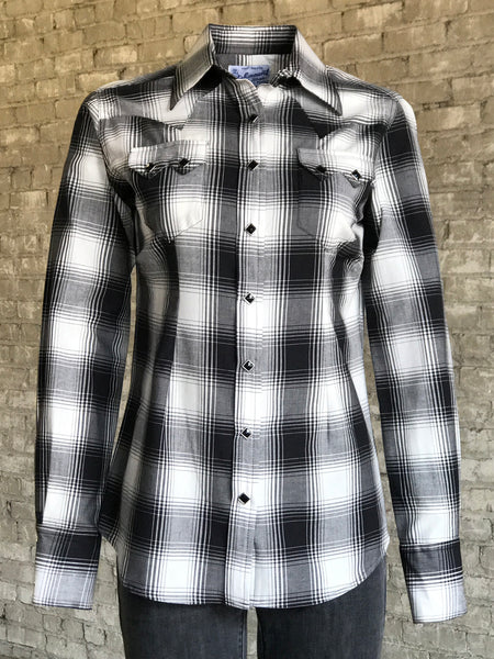 Women's Short Sleeve Black Gingham Check Western Shirt