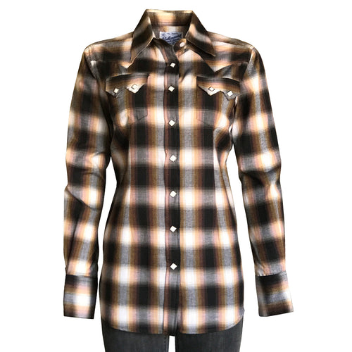Women's Brown & Rust Shadow Plaid Sawtooth Western Shirt