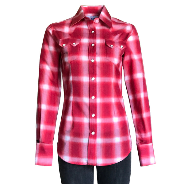 Women's Red & White Shadow Plaid Sawtooth Western Shirt