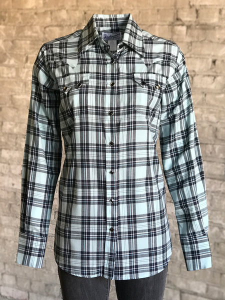 Women's Short Sleeve Eyelet Blue Plaid Western Shirt