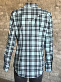 Women's Turquoise & Black Shadow Plaid Western Shirt