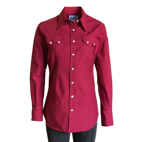 Women's Micro-Check Cherry Red Western Shirt