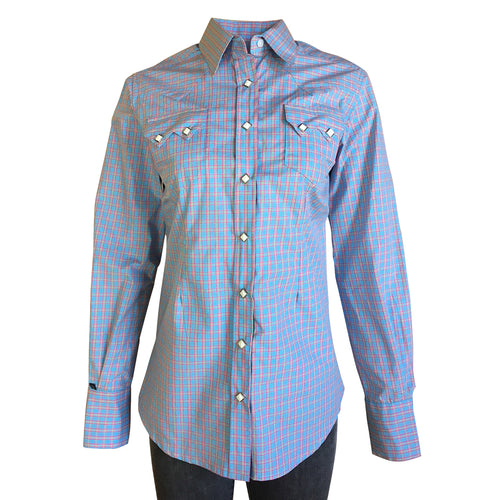 Women's Blue & Pink Cotton Check Western Shirt