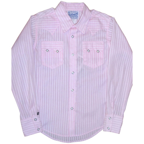 Kid's Pinstripe Western Shirt in Pink & White