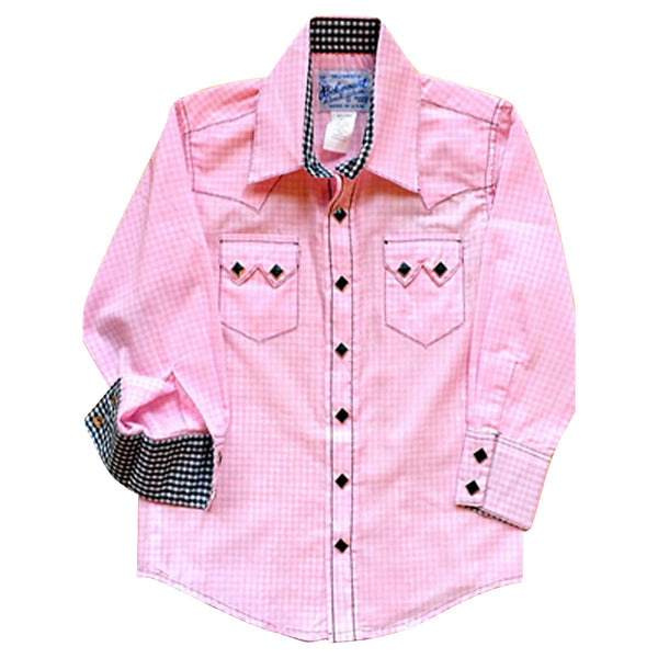 Kid's Gingham Pink & Black Western Shirt