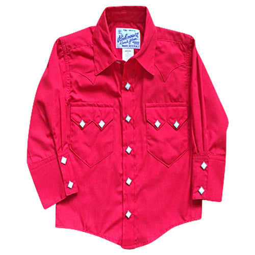 Kid's Vintage Solid Red Western Shirt