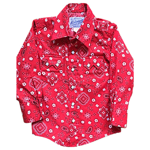 Kid's Red Bandana Print Western Shirt