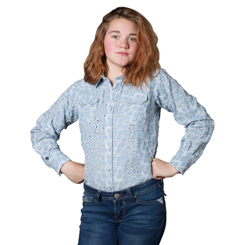 Kid's Blue Chambray Eyelet Western Shirt