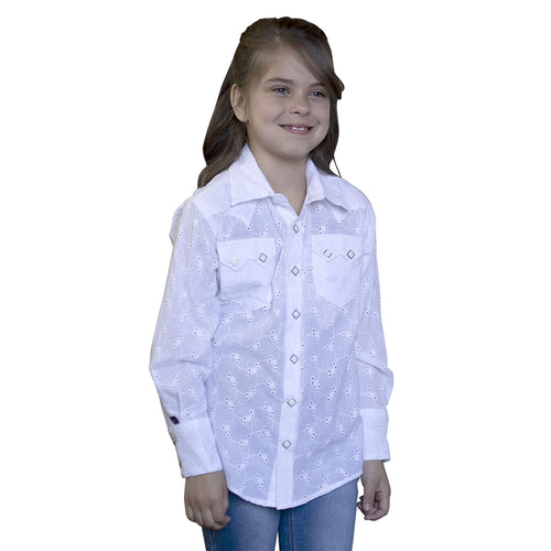 Kid's Plaid White Eyelet Cotton Western Shirt