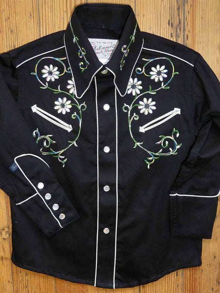 Kid's Embroidered Steer Skulls & Roses Western Shirt in Black