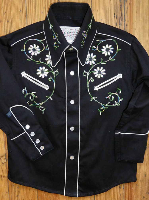 Kid's Embroidered Floral Western Shirt in Black
