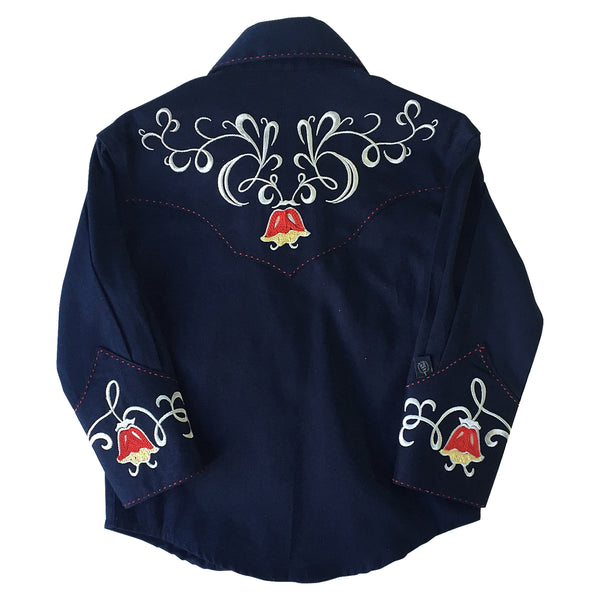 Kid's Art Deco Floral Embroidery Navy Western Shirt