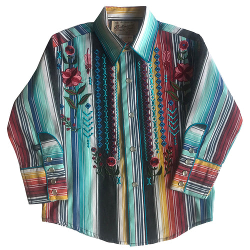 Kid's Embroidered Boho Serape Stripe Western Shirt