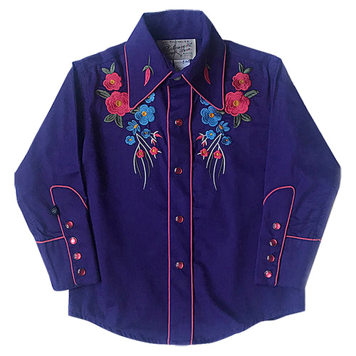 Kid's Embroidered Floral Bouquet Western Shirt in Purple