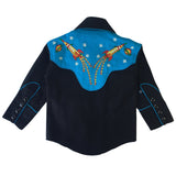 Kid's 2-Tone Space Cowboy Embroidered Western Shirt