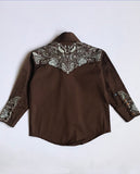 Kid's Brown Vintage Embroidered Western Shirt - Rockmount