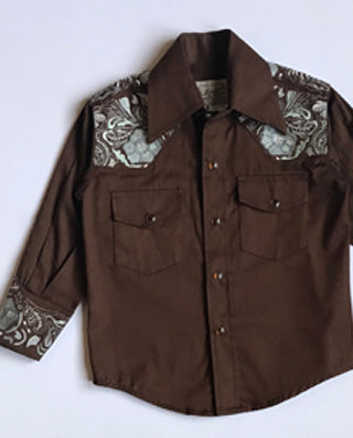 Kid's Embroidered Floral with Lucky Horseshoes Western Shirt in Brown