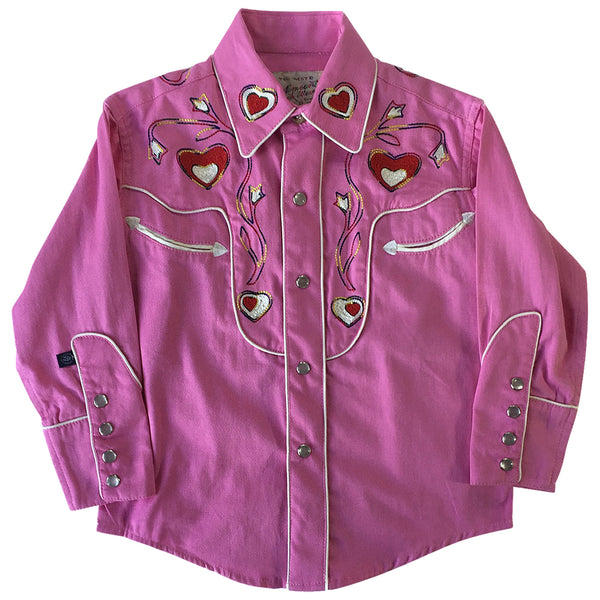 Kid's Embroidered Hearts & Floral Pink Western Shirt
